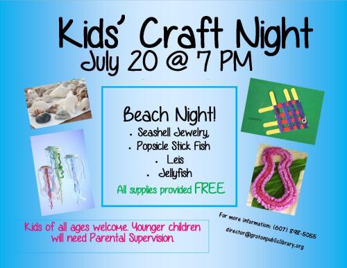Craft night poster Beach